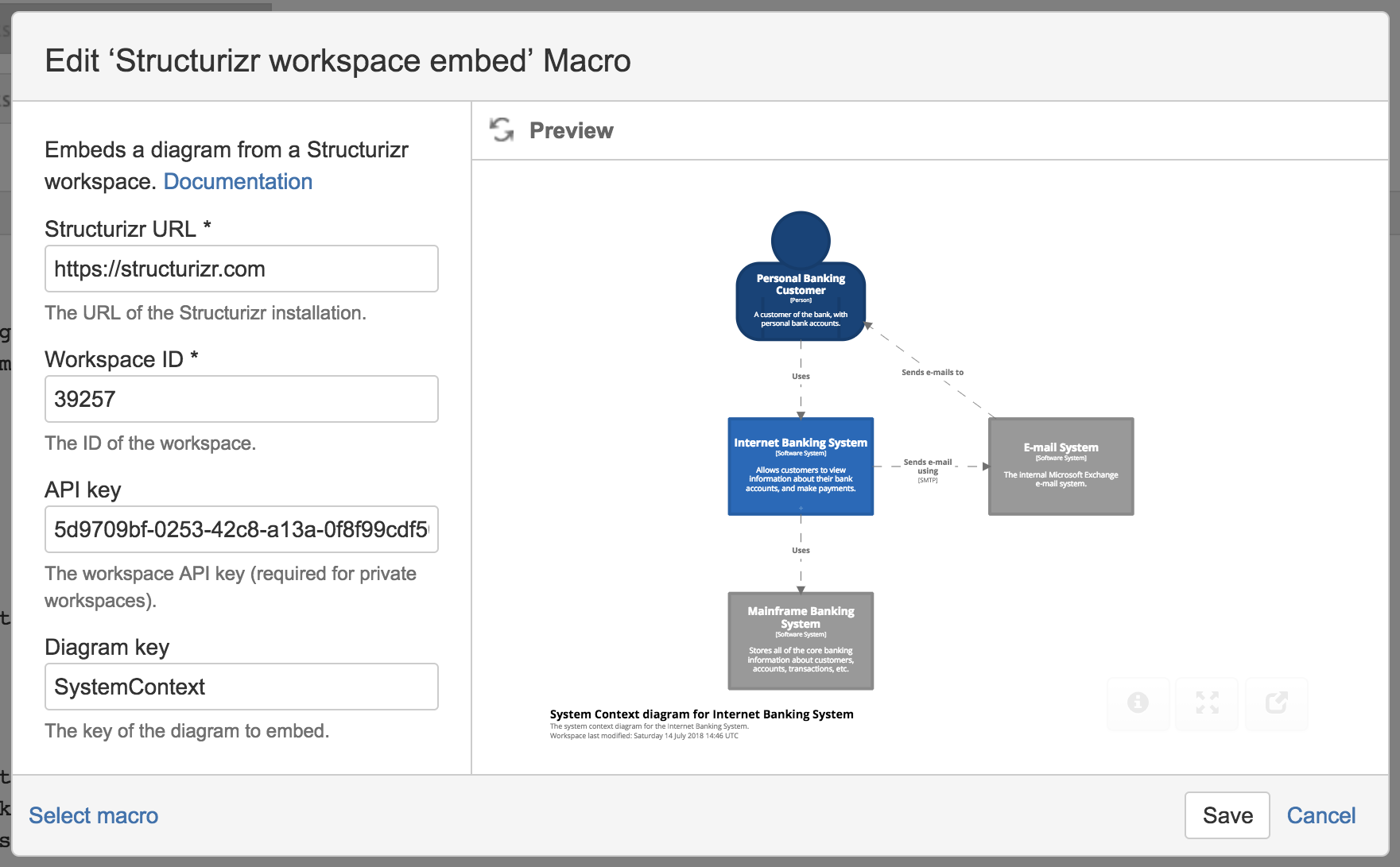 Structurizr workspace embed macro