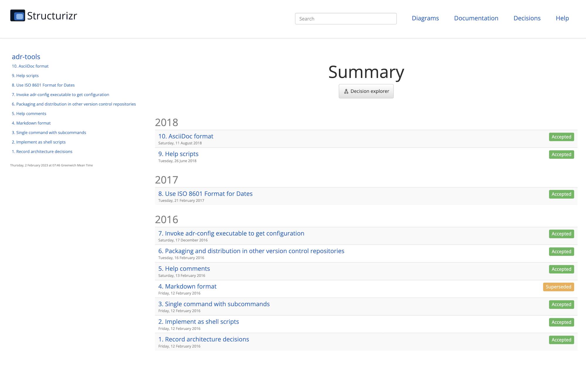 Structurizr Lite - architecture decision records